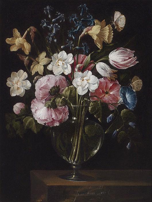 Flowers in a glass vase on a wooden ledge 8857 20. часть 2 -- European art Европейская живопись