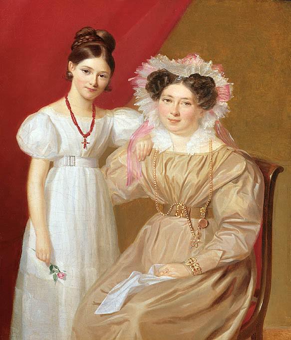 Firmin Massot Portrait of a Mother and Daughter 32014 184. часть 2 - европейского искусства Европейская живопись