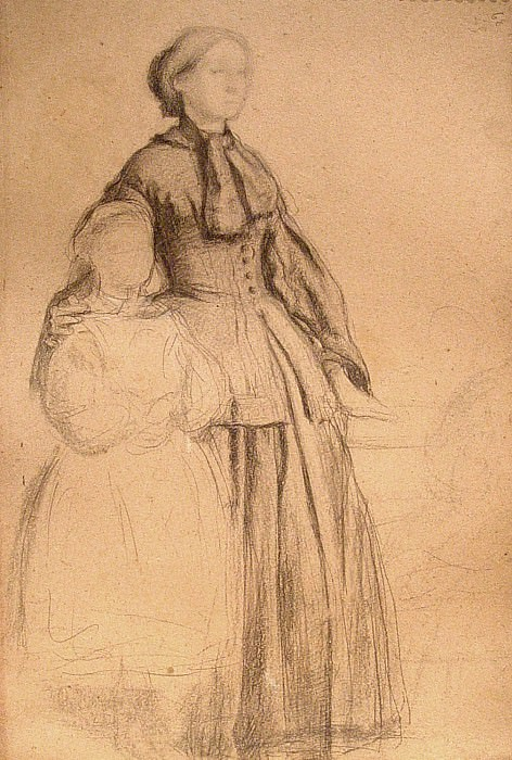 Edgar Degas Laura Bellelli et sa fille Giovanna 89939 1184. часть 2 -- European art Европейская живопись