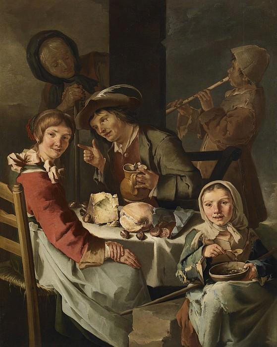 Giacomo Francesco Cipper named Il Todeschini A peasants's banquet with a young flute player 40713 203. часть 2 -- European art Европейская живопись