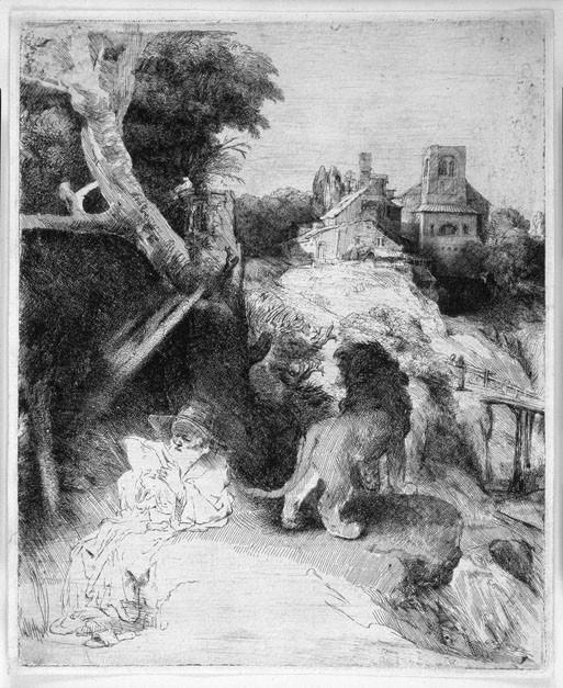 Harmensz van Rijn Rembrandt St Jerome Reading in an Italian Landscape 39129 1124. часть 2 - европейского искусства Европейская живопись