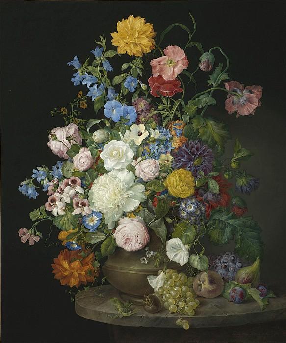 Frans Xavier Petter A vase of camelias pansies dahlias roses and poppies 28521 20. часть 2 - европейского искусства Европейская живопись