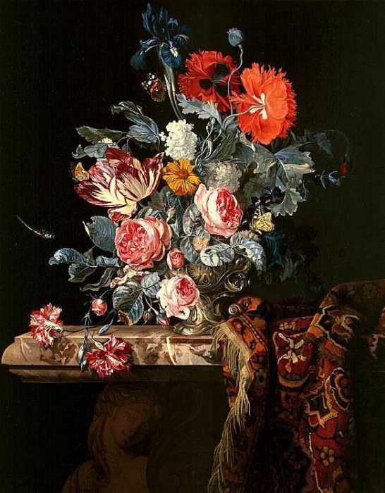 HENDRICK DE FROMANTIOU Still Life with Flowers in a silver Vase on a marble Ledge with a Carpet. часть 2 -- European art Европейская живопись