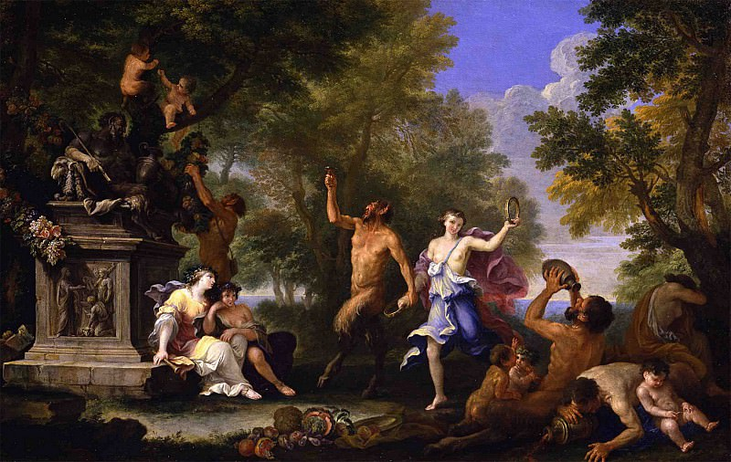 Filippo Lauri A Bacchanal offering various goods to a statue of Pan 46299 172. часть 2 -- European art Европейская живопись