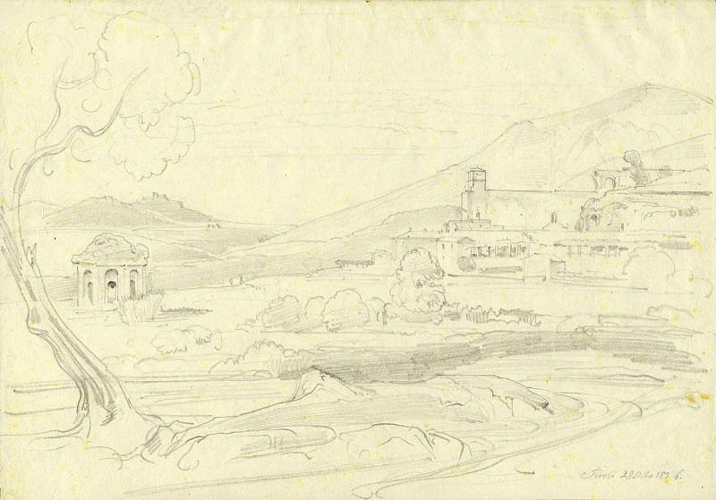 Ernst Fries View of Tivoli with the Tempio della Tosse 1826 122571 1124. часть 2 - европейского искусства Европейская живопись