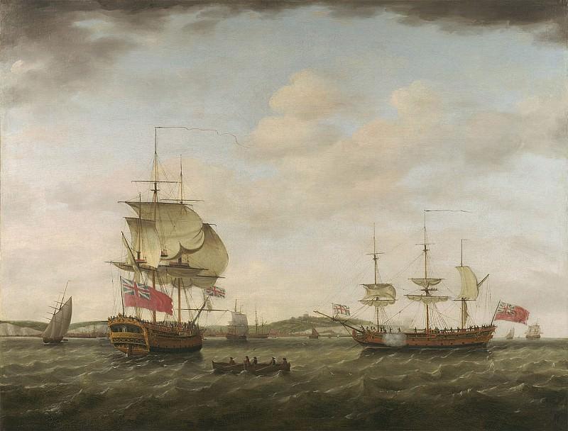 Francis Holman A sixth rate British man of war off Dover 98839 20. часть 2 - европейского искусства Европейская живопись