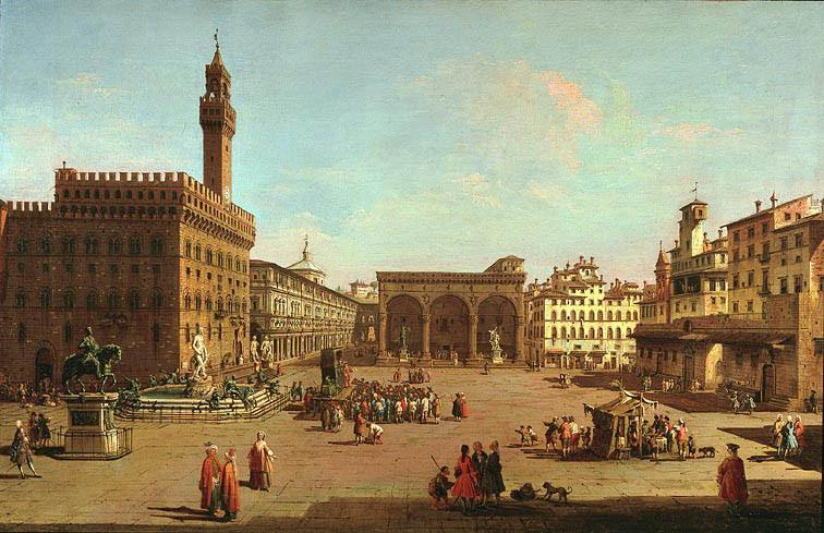 GIUSEPPE ZOCCHI A View of the Piazza della Signoria Florence looking South with the Palazzo Vecchio and the Loggia dei Lanzi 11481 172. часть 2 -- European art Европейская живопись