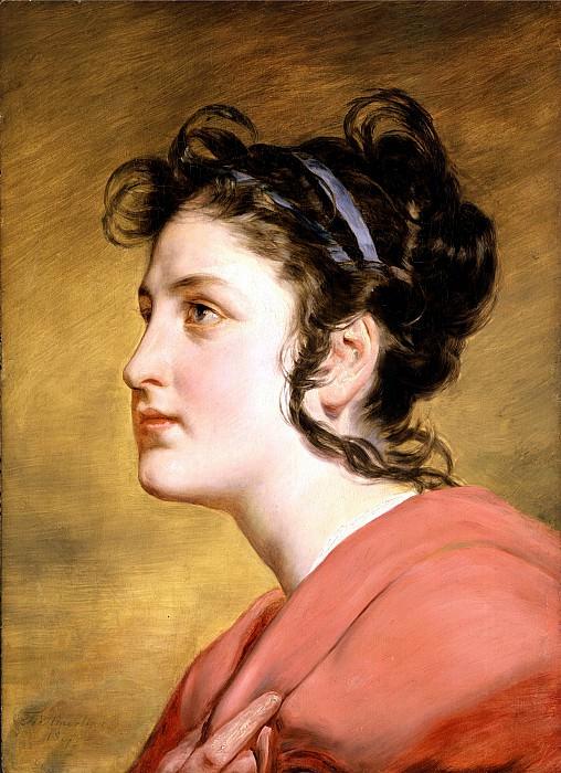 FRIEDRICH VON AMERLING Portrait of a young Girl. часть 2 -- European art Европейская живопись