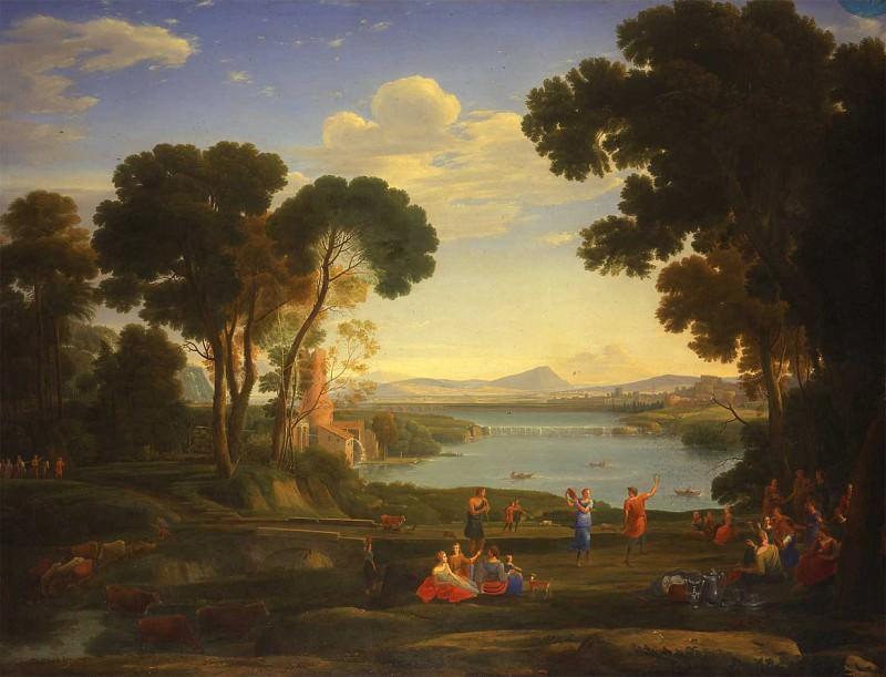 Hendrik Frans van Lint called le Studio Landscape with a Watermill and Dancing Figures 16867 203. часть 2 -- European art Европейская живопись