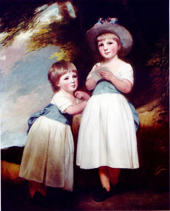 GEORGE ROMNEY Portrait of Two Children in a Landscape 34826 316. часть 2 -- European art Европейская живопись