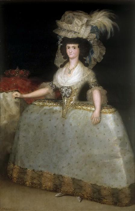 Goya y Lucientes, Francisco de -- La reina María Luisa con tontillo. Part 5 Prado Museum