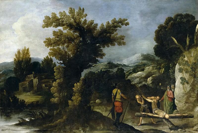Кольянтес, Франсиско -- Пейзаж с распятием святого Петра. часть 5 Музей Прадо