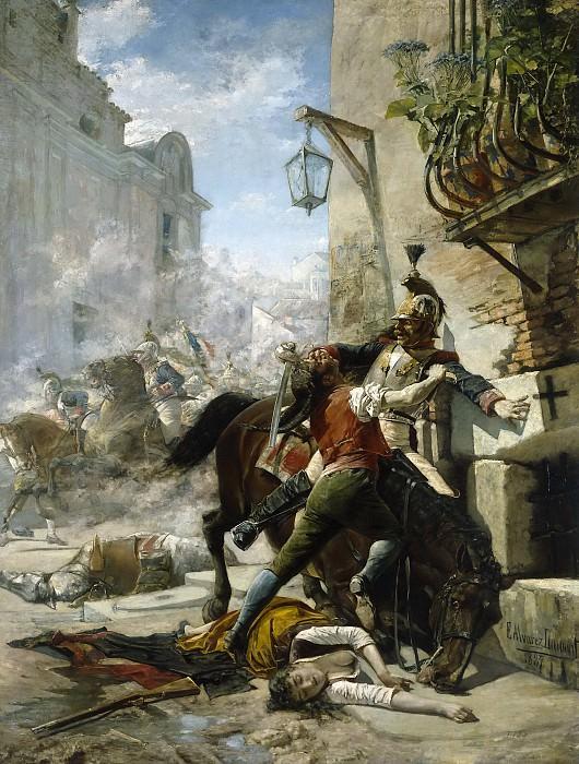 Álvarez Dumont, Eugenio -- Malasaña y su hija se baten contra los franceses en una de las calles que bajan del parque a la.... Part 5 Prado Museum