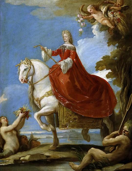 Giordano, Luca -- Mariana de Neoburgo, reina de España, a caballo. Part 5 Prado Museum