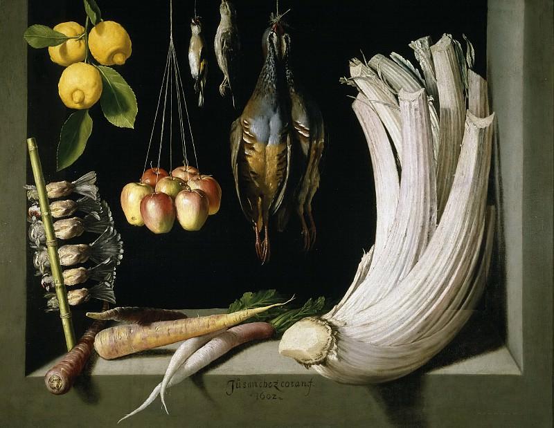 Sánchez Cotán, Juan -- Bodegón de caza, hortalizas y frutas. Part 5 Prado Museum