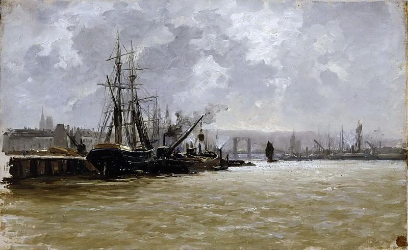 Haes, Carlos de -- Puerto de Rouen. Part 5 Prado Museum