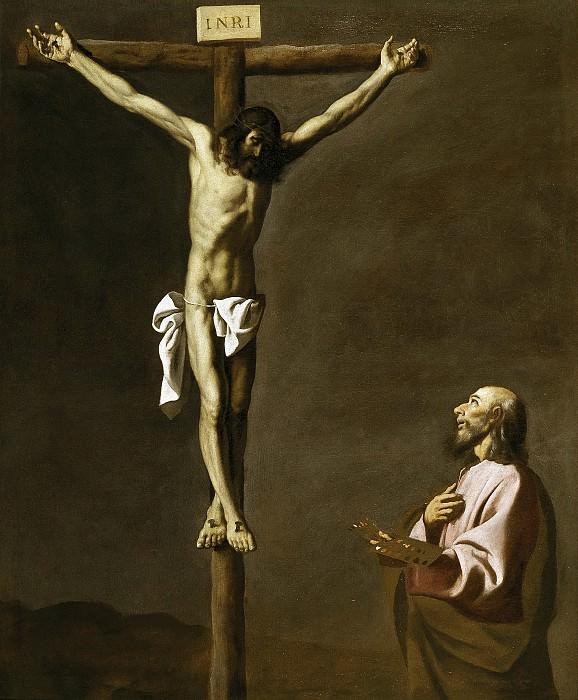 Zurbarán, Francisco de -- San Lucas como pintor, ante Cristo en la Cruz. Part 5 Prado Museum