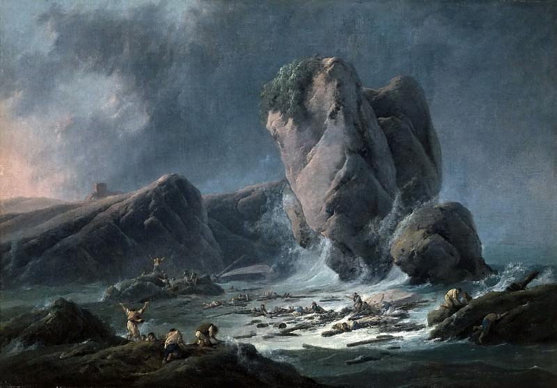 Pillement, Jean -- Naufragos llegando a la costa. Part 5 Prado Museum