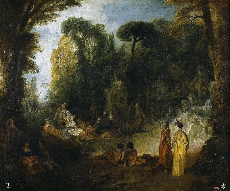 Watteau, Jean Antoine -- Fiesta en un parque. Part 5 Prado Museum
