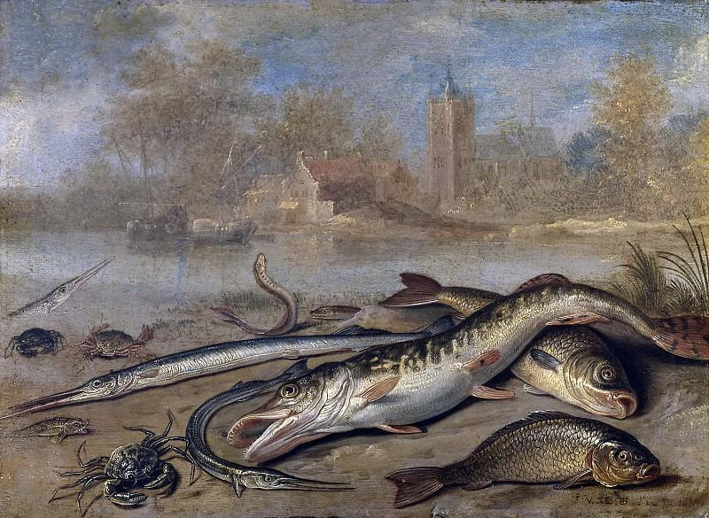 Kessel el Viejo, Jan van -- Pescados y paisaje. Part 5 Prado Museum