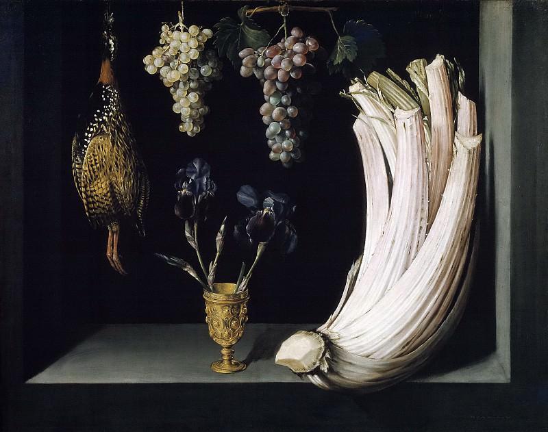 Ramírez, Felipe -- Bodegón con cardo, francolín, uvas y lirios. Part 5 Prado Museum
