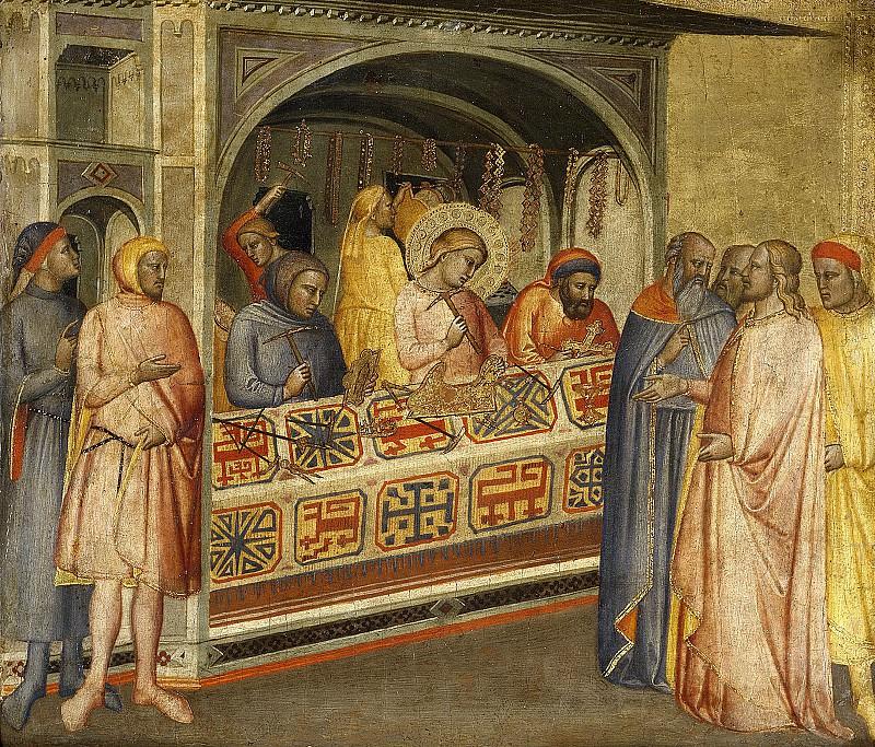Maestro de la Madonna della Misericordia -- San Eloy en el taller de orfebrería. Part 5 Prado Museum