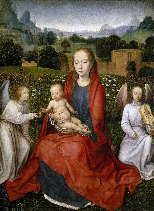 Memling, Hans -- La Virgen y el Niño entre dos ángeles. Part 5 Prado Museum