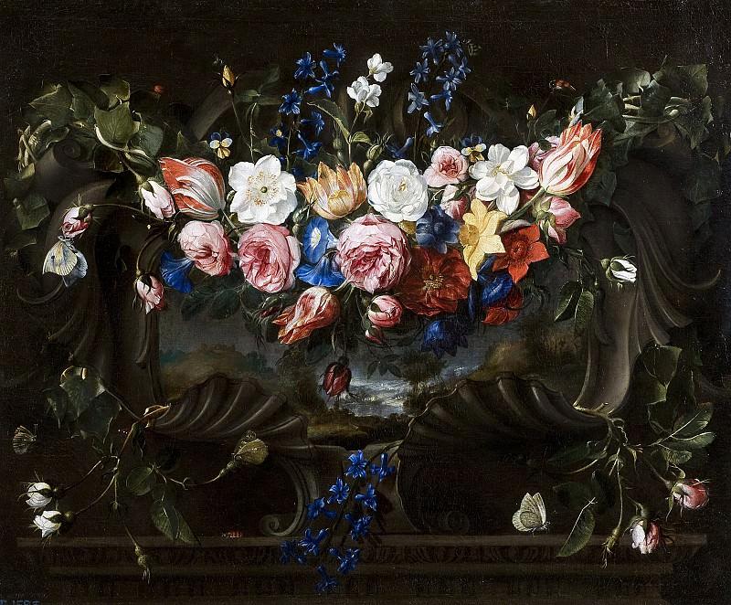 Ареллано, Хуан де -- Гирлянда из цветов на картуше с пейзажем. часть 5 Музей Прадо