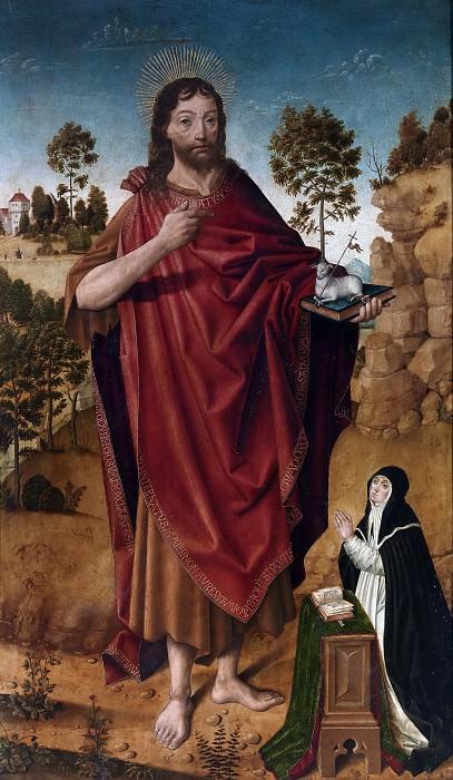 Cruz, Diego de la -- San Juan Bautista y una donante. Part 5 Prado Museum