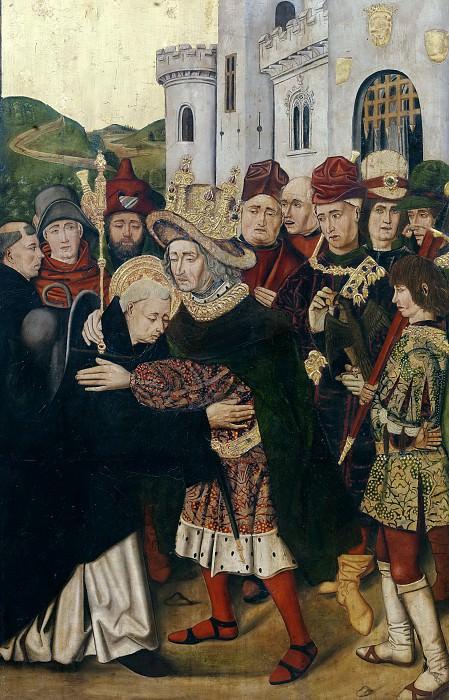 Бартоломе Бермехо и Мартин Бернат -- Фердинанд I Кастильский обнимает св Доминика из Силоса(?). часть 5 Музей Прадо