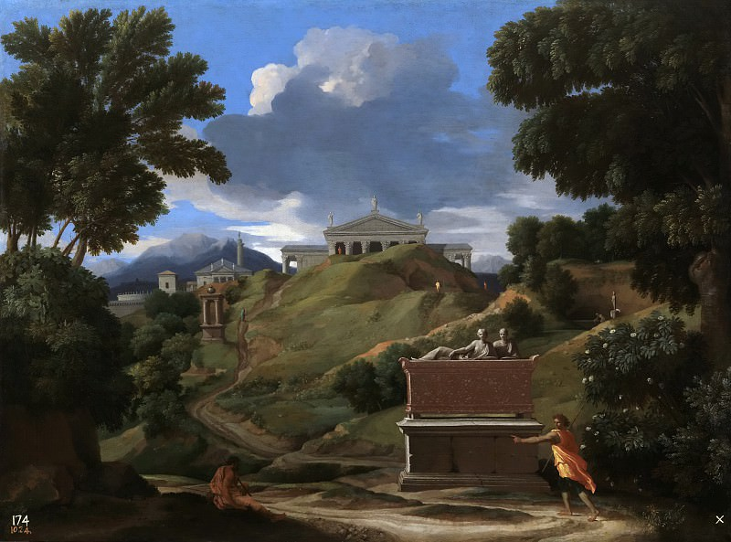 Paisaje con una tumba antigua y dos figuras. Nicolas Poussin