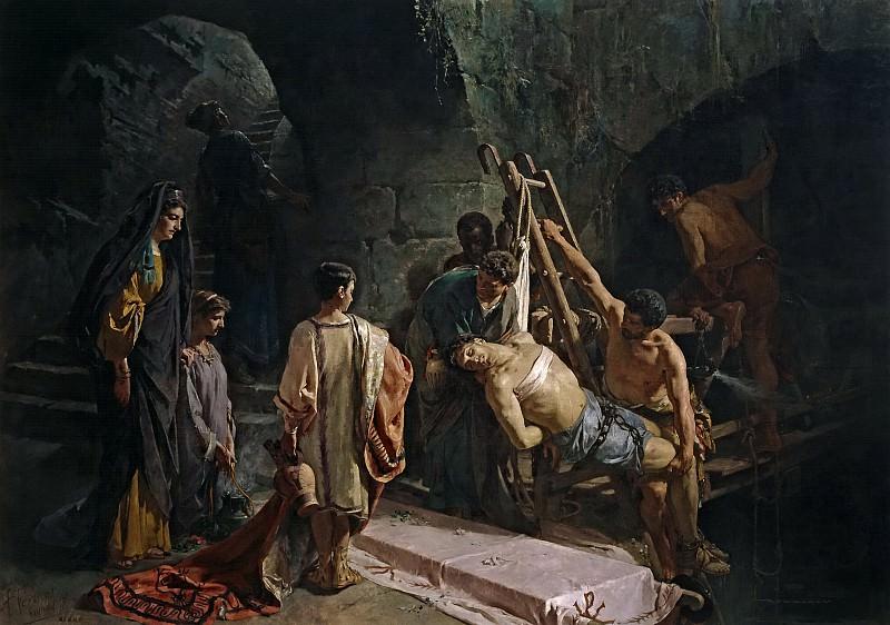 Ferrant y Fischermans, Alejandro -- El entierro de San Sebastián (San Sebastián hallado en la Cloaca Máxima). Part 5 Prado Museum
