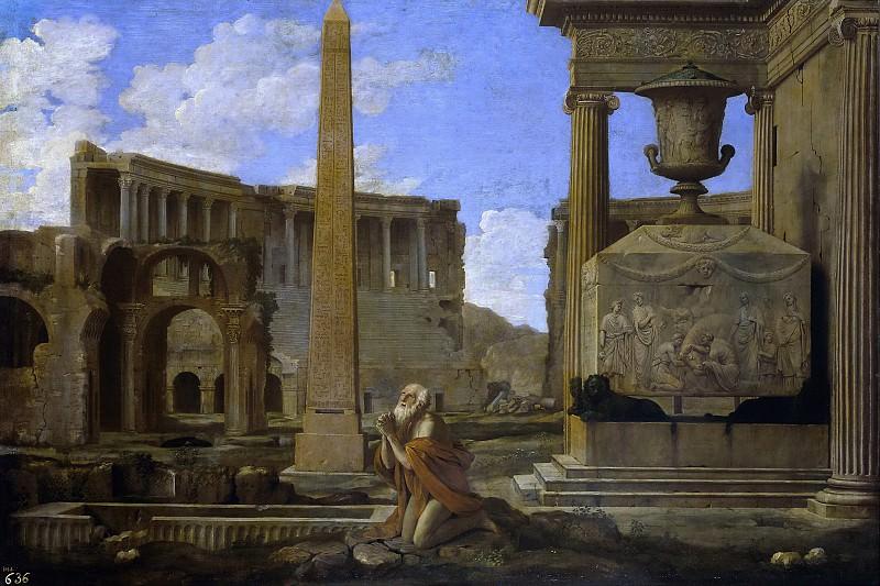 Lemaire, Jean -- Eremita orando entre ruinas clásicas. Part 5 Prado Museum