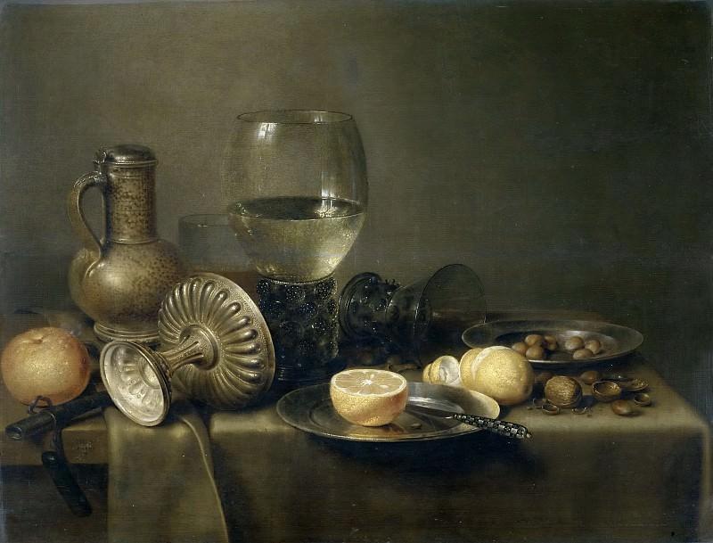 Heda, Willem Claesz. (?) -- Bodegón con jarra de cerveza y naranja. Part 5 Prado Museum