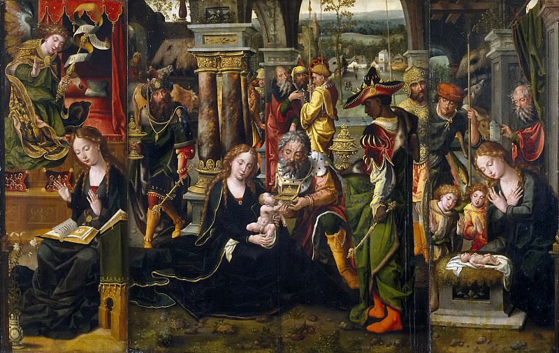 Coecke van Aelst, Pieter -- La Anunciación. La Adoración de los Reyes Magos. La Adoración de ángeles y pastores. Part 5 Prado Museum