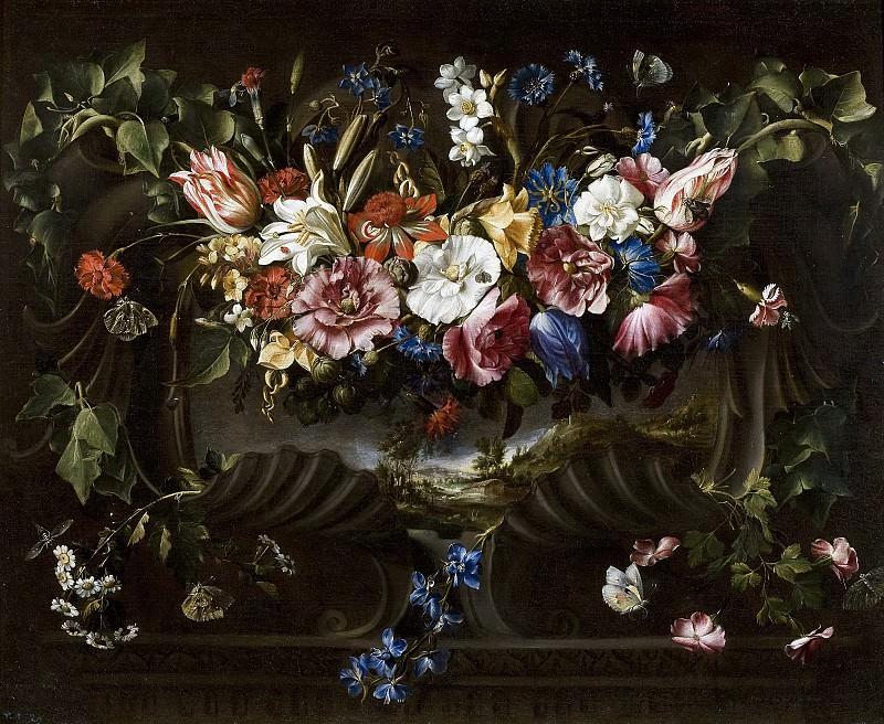 Arellano, Juan de -- Guirnalda de flores y cartela con paisaje. Part 5 Prado Museum