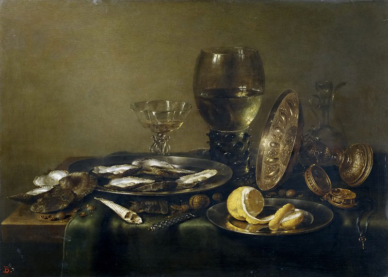 Heda, Willem Claesz. -- Bodegón con tazza de plata, copa Roemer y ostras. Part 5 Prado Museum