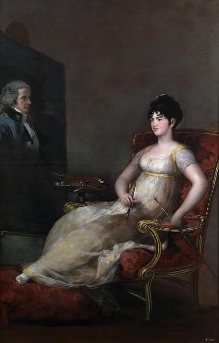 Гойя и Лусиентес, Франсиско де -- Мария де Томаса Палафокс и Портокарреро, маркиза Виллафранка, с портретом мужа. часть 5 Музей Прадо