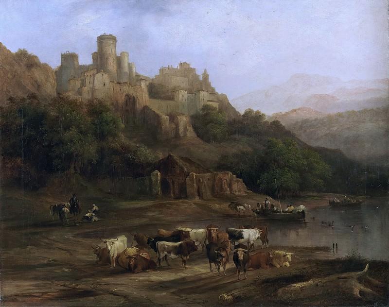 Pérez Villaamil Duguet, Genaro -- Manada de toros junto a un río , al pie de un castillo. Part 5 Prado Museum