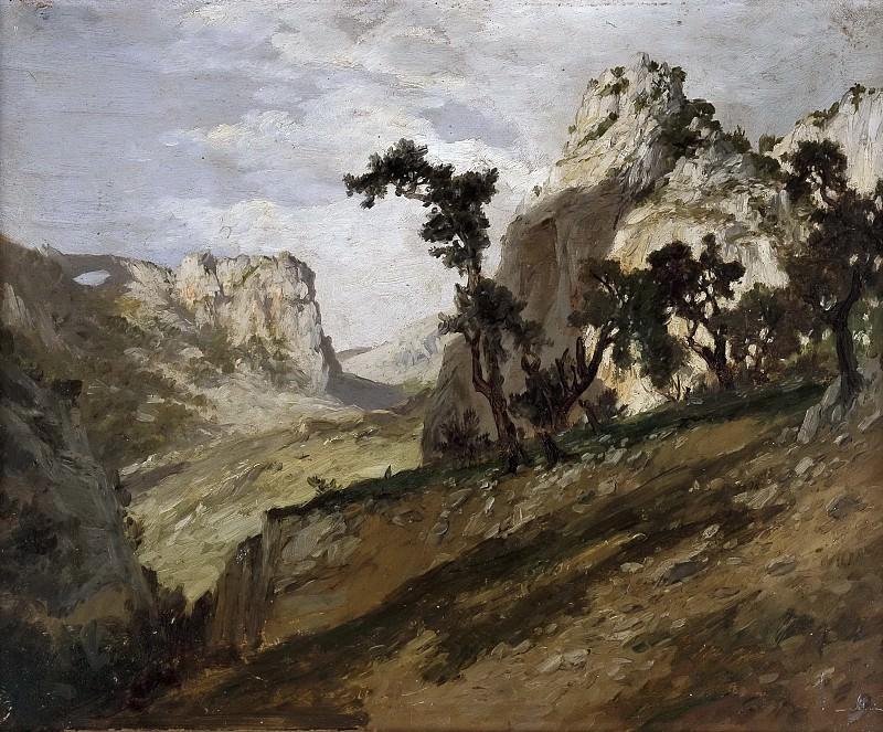 Haes, Carlos de -- Robles y rocas (Picos de Europa). Part 5 Prado Museum
