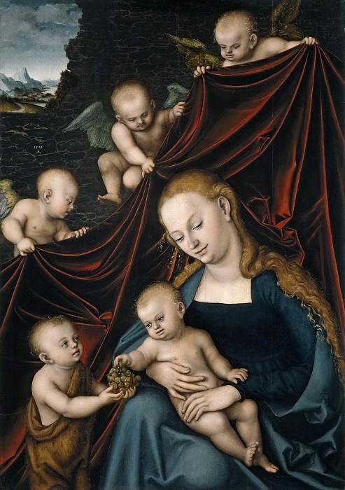 Кранах, Лукас I -- Мадонна с младенцем, святой Иоанн и ангелы. часть 5 Музей Прадо