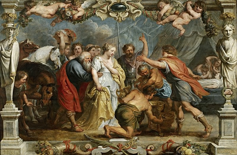 Rubens, Pedro Pablo (y taller) -- Briseida devuelta a Aquiles por Néstor. Part 5 Prado Museum