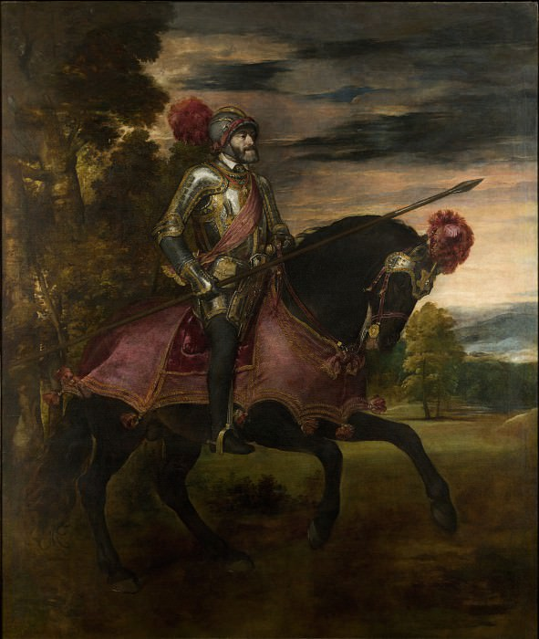 Titian - Emperor Carlos V on Horseback. Masterpieces of the Prado Museum (Vecellio di Gregorio Tiziano)