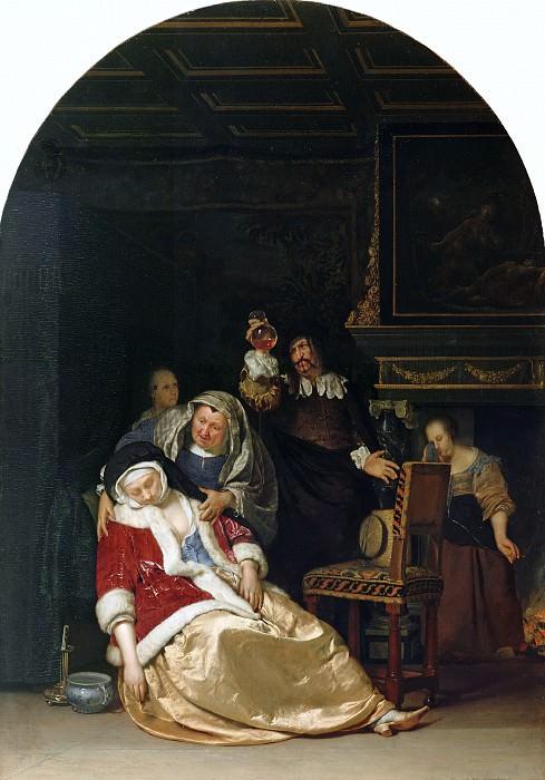 Мирис Франс I ван (Лейден 1635-1681) - Визит доктора (44х31 см) 1667. J. Paul Getty Museum