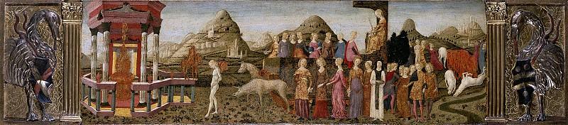 Франческо ди Джорджио Мартини (Сиена 1439-1502) - Триумф целомудрия (37х121 см) ок1465. J. Paul Getty Museum