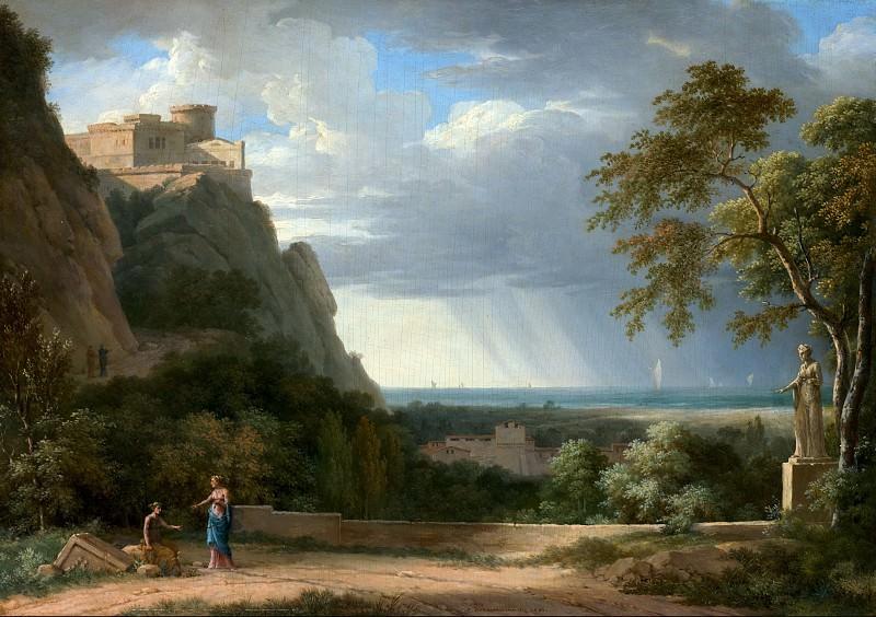 Валансьенн Пьер-Анри де (1750 Тулуза - 1819 Париж) - Классический пейзаж с фигурами и скульптурой (29х41 см) 1788. J. Paul Getty Museum