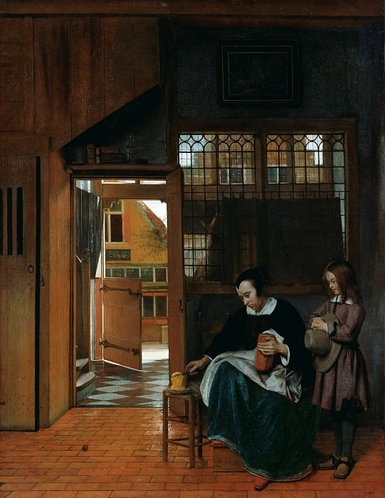 Хох Питер де (1629 Роттердам - 1684 Амстердам) - Женщина, делающая мальчику бутерброд (68х53 см) 1660-63. J. Paul Getty Museum