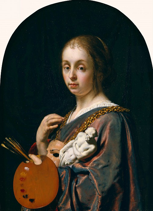 Мирис Франс I ван (Лейден 1635-1681) - Аллегория живописи (1661 см) 13х8. Музей Гетти
