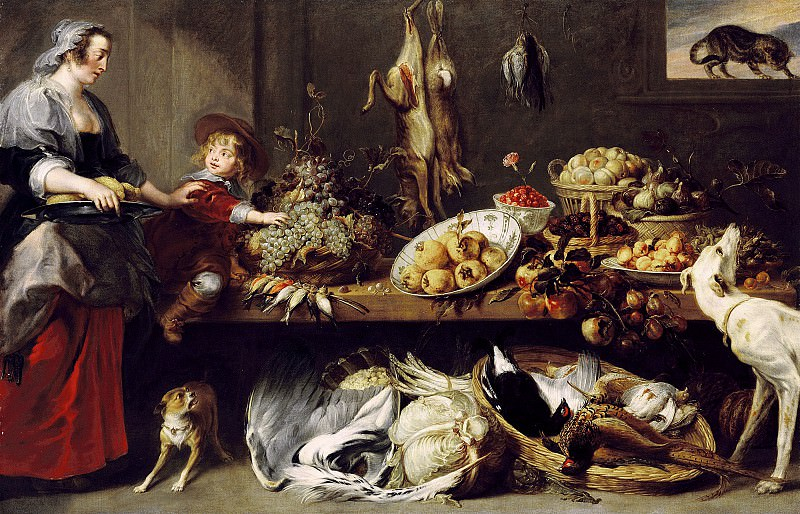 Снейдерс Франс ( Антверпен 1579 - 1657) - Натюрморт со служанкой и мальчиком (152х240 см). Музей Гетти