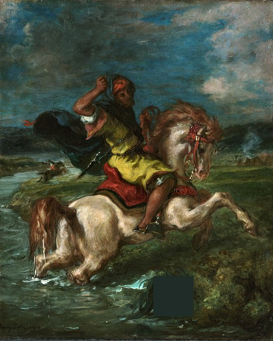 Делакруа Эжен (1798 Шарантон-Сент-Морис - 1863 Париж) - Марокканский всадник, пересекающий пруд (46х38 см) ок1850. J. Paul Getty Museum